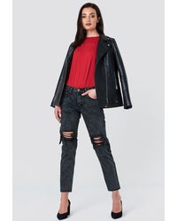 Glamorous Distressed Baggy Jeans - Gris