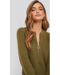 NA-KD - Zipper Front Knitted Sweater - Lyst