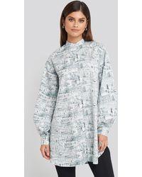NA-KD Trend Oversized Printed Cotton Shirt Dress - Blau