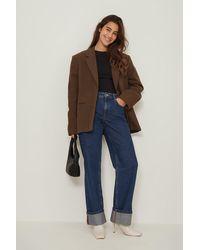 NA-KD Trend Organisch Rechte High Waist Jeans - Blauw