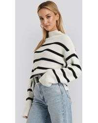 NA-KD High Neck Striped Knitted Sweater - Blanc