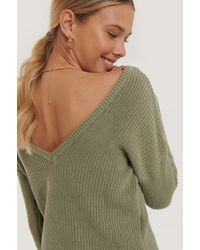 NA-KD - Knitted Deep V-neck Sweater - Lyst