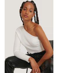 Glamorous White Asymmetric Knit Crop Top