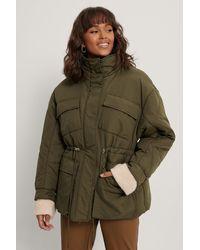 NA-KD Green Big Pocket Drawstring Jacket