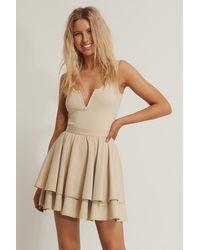 NA-KD Beige Flounce Mini Skirt - Natural