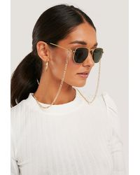 NA-KD Chain Detailed Metal Frame Sunglasses Gold - Metallic