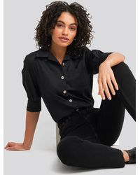 NA-KD Puff Sleeve Shirt Black