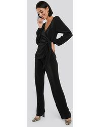 NA-KD Party Wide Pleated Trousers - Schwarz