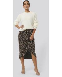 NA-KD Printed Overlap Mesh Skirt - Marron