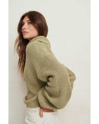 NA-KD Green Organic Turtle Neck Short Knitted Jumper