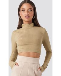 NA-KD - Wide Rib Polo Neck Long Sleeve Cropped Top - Lyst