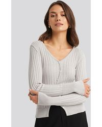 NA-KD - Uneven Rib Button Detail Top - Lyst