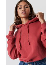 NA-KD - Basic Hoodie Washed Red - Lyst