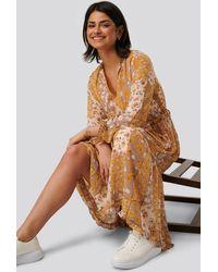 NA-KD Multicolor V-neck Flower Print Chiffon Dress