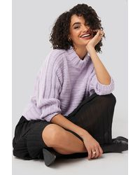 Trendyol Ribbed Bat Sleeve Knitted Sweater - Lila
