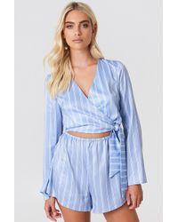1f8157683600 Lyst - Banana Republic Factory Blue Stripe Tie-waist Romper in Blue