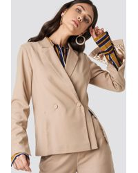 NA-KD - Double Breasted Slit Blazer Beige - Lyst
