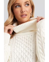 NA-KD High Neck Cable Knitted Sweater - Wit