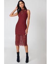 Keepsake - Uplifted Midi Dress Burnt Red - Lyst