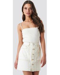 NA-KD Contrast Stitch Button Up Mini Skirt - Naturel