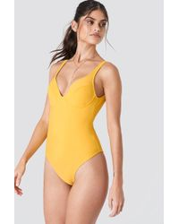 NA-KD - Deep Back Cup Swimsuit Yellow - Lyst