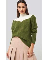 Trendyol Multicolor Colorblock Knitted Sweater - Green