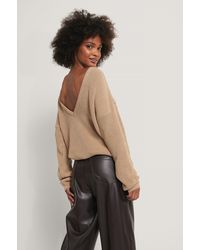 NA-KD Knitted Deep V-neck Sweater - Natur