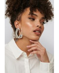 NA-KD Big Smashed Earrings Silver - Metallic