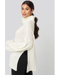 NA-KD Side Slit Oversized Knitted Sweater - Blanc
