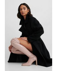 NA-KD Pink Glossy Patent Overknee Boots - Multicolor