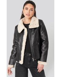 NA-KD Raw Edge Cropped Aviator Jacket - Zwart