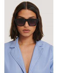NA-KD Sharp Square Cateye Sunglasses - Noir