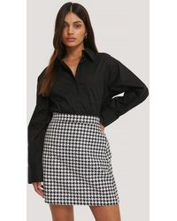 NA-KD Multicolor A-line Houndstooth Skirt - Black