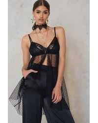 NA-KD Black Mesh Slip Dress