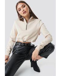 NA-KD Cropped Jersey Sweater - Naturel