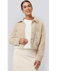 NA-KD Trend Hairy Faux Fur Jacket - Natur