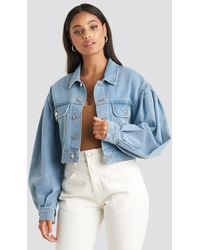 NA-KD Puff Sleeve Oversized Denim Jacket - Blauw
