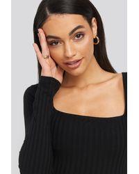 NA-KD Square Neck Ribbed Dress - Zwart