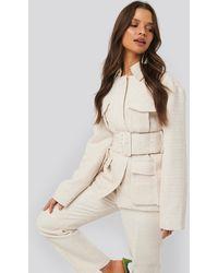 NA-KD Belted Tweed Jacket - Wit