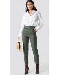 NA-KD - High Waist Belted Pants Green - Lyst