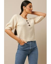 NA-KD Vintage Look Knitted Top White - Multicolour