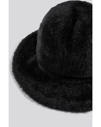 NA-KD Fluffy Bucket Hat - Zwart