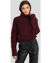 NA-KD - Cable Sleeve High Neck Sweater - Lyst