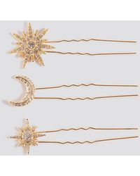 NA-KD 3-pack Sparkling Star Hairpins - Metallic