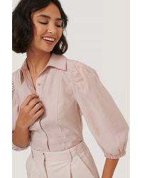 NA-KD Blouse Met Pofmouwen En Shirtdetail - Roze