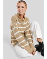NA-KD High Neck Striped Knitted Sweater - Naturel