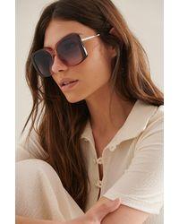 NA-KD Accessories Oversize Retro-Sonnenbrille Mit Eckiger Fassung - Blau