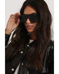 NA-KD Black Oversize Wide Screen Sunglasses