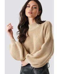 NA-KD Big Sleeve Knitted Sweater Beige - Natural