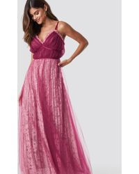 True Decadence - Pleated Maxi Dress Raspberry - Lyst
